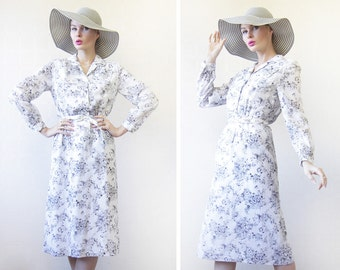 Vintage white black cotton floral print long sleeve belted midi dress XS-S