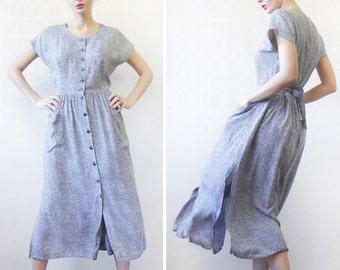 Vintage navy blue tiny white flower print sleeveless belted sun midi dress S-M