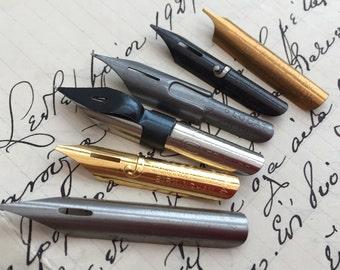 Sample set 2: vintage dip pen nibs, French, Italian and English nibs. Set of 6 unused vintage nibs.