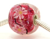 "Big Lampwork glass bead European Charm Focal bead ""Blooming"" Sterling silver core big hole 161 By Shirley"