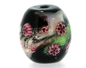 "Big handmade Lampwork Japanese Satake Glass Focal Bead ""Cherry Blossom"" A03 SRA Shirley"