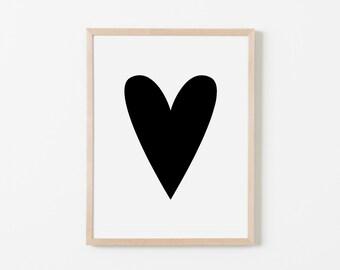 Black Heart Nursery Art. Nursery Wall Art. Nursery Prints. Nursery Decor. Girl Wall Art. Black Wall Art. Instant Download.