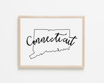 Connecticut Horizontal Nursery Art. Nursery Wall Art. Nursery Prints. Connecticut Wall Art. State Wall Art. Connecticut Nursery.