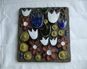 Vintage Swedish hand made Jie Gantofta ceramic wall plaque - tulips and more flowers
