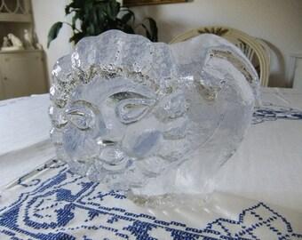 Vintage Swedish Large massive glass art lion - Pukeberg glass