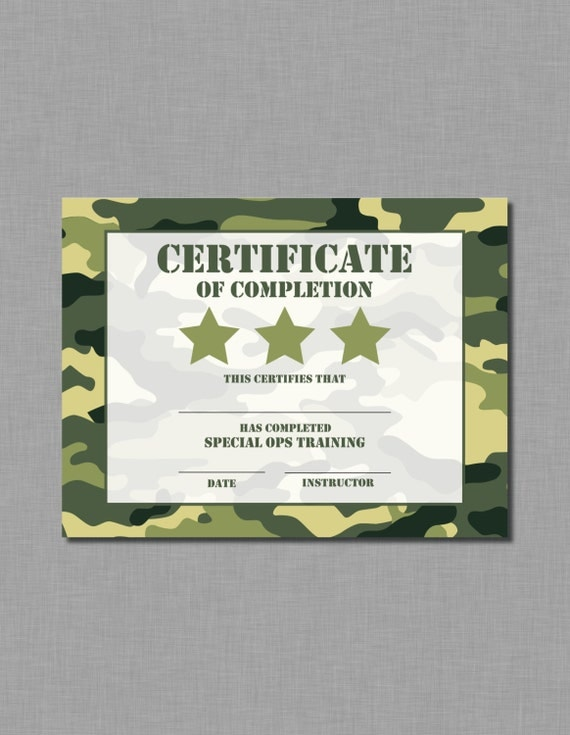 Army Birthday Certificate camouflage military MB52 Printable