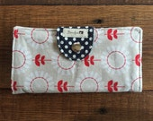 Vintage Red and White Flowers with Navy Blue and White Polka Dots