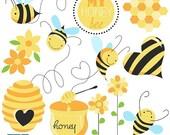 70% Sale Honey Bee Digital Clipart - Scrapbooking , card design, invitations, photo booth, web design - INSTANT DOWNLOAD