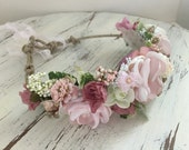 Flower crown- Flower Tie back halo- Flower Headband- Well Dressed Wolf Crown- Headband- Tie Back Headband- Flower Girl Headband- hair wreath