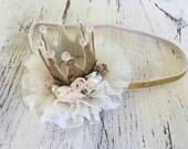 Gold Crown headband- Glitter crown hat- Crown Birthday headband- Birthday Headband- Sparkle Birthday Crown headband- Baby Girl Headband