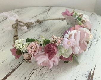 Flower crown- Floral crown- baby Flower crown, Bridal Flower crown, Flower girl Headband- Well Dressed Wolf