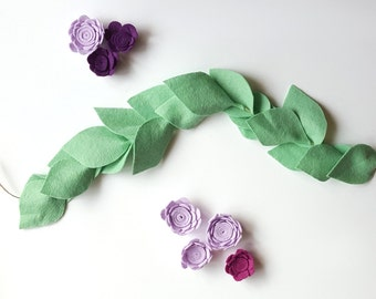 Greenery garland - floral garland, mint felt garland, floral nursery, nursery decor, floral room decor, greenery bunting, felt leaf garland