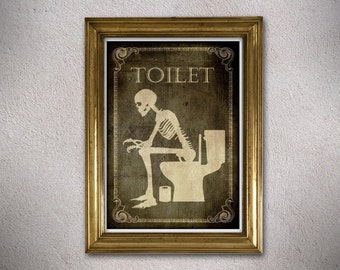 A4 Toilet, Bathroom,Laundry,Bedroom,Kitchen,Office,Welcome,signs,horror,posters,skull,home decor,skeletons,wall decor,gothic,goth