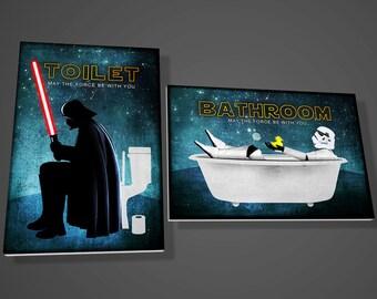 Darth Vader Toilet sign,Stormtrooper bathroom sign,star wars,movie,art,funny,door sign,door sign,geek,gift