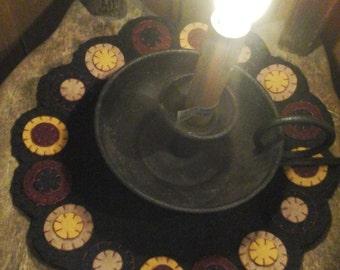 Primitive circles penny rug candle mat centerpiece