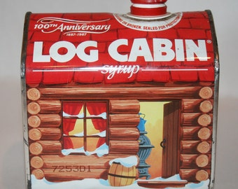 Vintage Log Cabin Syrup Tin celebrating the 100th Anniversary 1887 - 1987