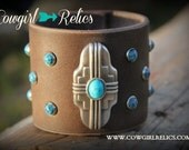CLEARANCE--Bold Western Cuff-Zona Rosa Leather Cuff, Western Chic, Turquoise, Concho, Southwest