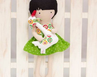Dress Up Doll, Handmade Soft Doll with Geese, Cloth Doll, Rag Doll 12 inches My Fashion Doll, Green white dotted skirt, Easter gift for Kids