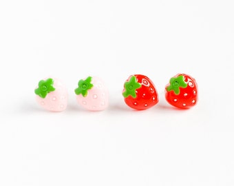 vintage cabochon post earrings strawberry red or pink-kawaii earrings-kitsch earrings-post earrings-vintage earrings-love factory NY