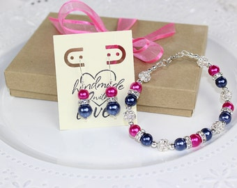 Navy Blue and Hot Pink Bridesmaid Jewelry Set, Bridesmaid Gift, Bridesmaid Jewelry, Wedding Gift, Pearl Bracelet, Pearl Earrings