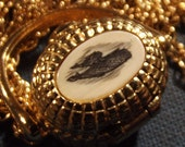 RESERVED for Janet Necklace Vintage Whale Locket Scrimshaw Nantucket Basket KT GP Signed Long Lovely and unusual Mother and Baby Whale