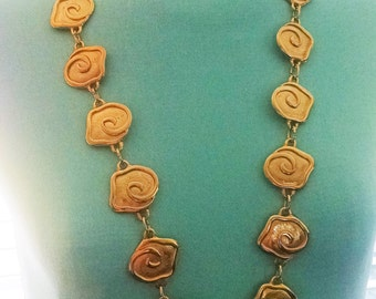 Necklace Vintage Designer Large Gold Roses Heavy Thick Linked Long Runway Statement Piece