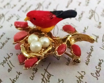 Brooch Vintage Red Robin in Next with Faux Pearl Eggs Coral Leaves Gold Setting Whimsical Unusual Beautiful Pin Audubon Collector Piece