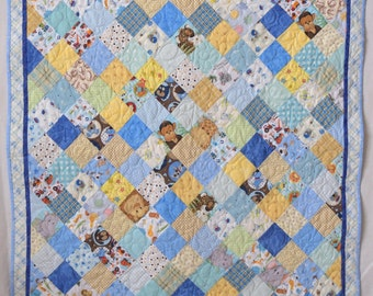 Homemade patchwork baby quilt for baby shower gift for boy