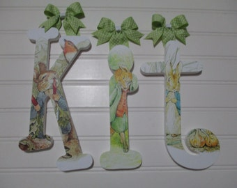 KIT - 12.00 - PER LETTER girl's name, wooden nursery letters, whimsical font, Peter Rabbit, Beatrix Potter, Benjamin Bunny