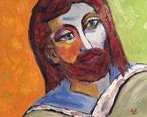 Jesus Original Oil Painting Fauvism Style Modern Art by Sue Killingsworth Biblical Art Jesus Portrait Vibrant Painting Canvas Wall Art