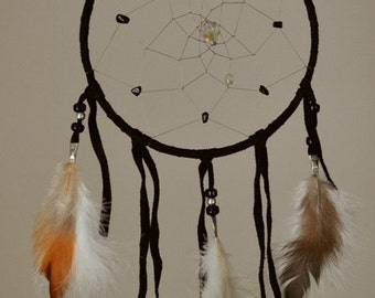 Authentic Native Made 6 Inch Black Leather Dream Catcher - Black Onyx