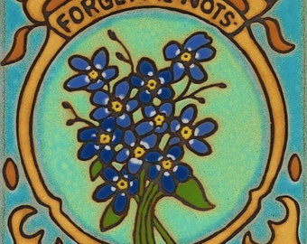Flowers Forget Me Nots Hot Plate  Wall Decor Installation Hand Painted mosaic kitchen backsplash bathroom mural Botanical floral Alaska ,