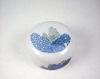 Mid Century Ceramic Trinket Box Blue Trees 1970s