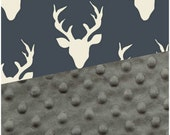 Baby Blanket Navy Buck Art Gallery Blanket Carseat Blanket Crib Blanket Deer Minky Blanket