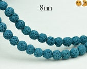 15 inch strand of Lava round beads,deep green color 8mm