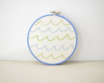 Ocean Waves Embroidery Hoop Wall Art Home Decor - blue, sea green, water, beach, lake house, summer, kids room, nursery decor, surfer gift