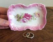 Tiny Transferware Pink Rose Porcelain Dish