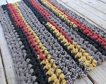 """All Hallows Eve Rug Crochet 34""""x19"""" Rag Area Rug Rectangle Medium Farmhouse Floor Handmade Bathmat Kitchen Country Log Cabin Black Homespun"""