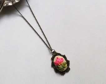 Ribbon Embroidery Necklace , Mothers Day Gift, Summer Jewelry