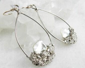 Keshi pearl earrings, Hoop earrings, Silver earrings, Druzy earrings