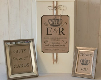 Personalised Wedding Card Post Box Hessian twine Traditional Gifts & Cards SIGN