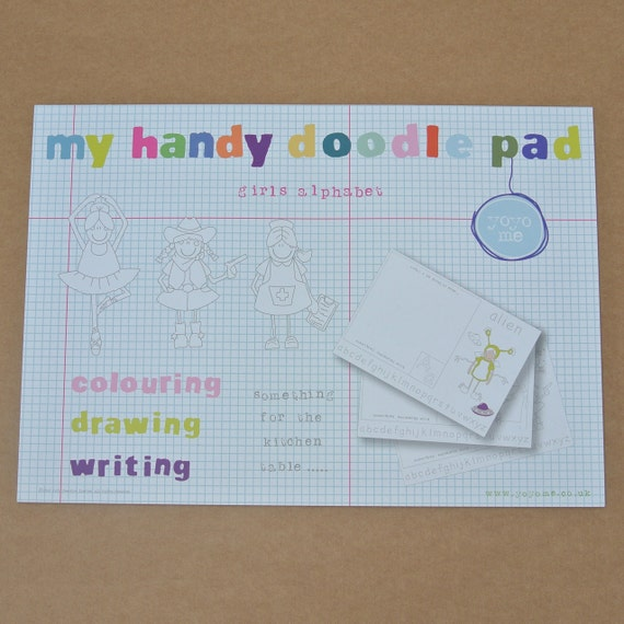 Handy Alphabet Doodle Pad With Pack Of Wax Crayons