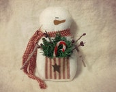 Red Ticking Pocket Snowman MADE TO ORDER