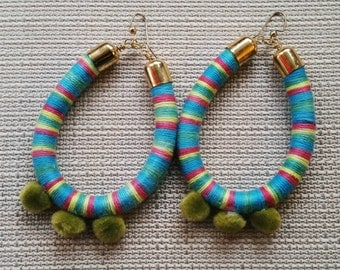 Pink, Green, and Teal Tribal Pom Pom Earrings