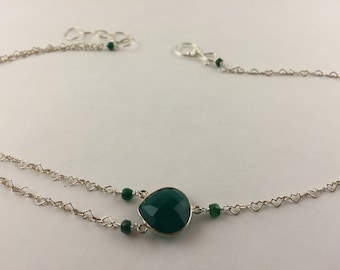 """16"""" Sterling silver and Emeralds heart necklace."""