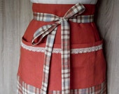 Linen Half Apron Women Checkered  Apron Lace Hostess Mother's Day Gift Cook Apron