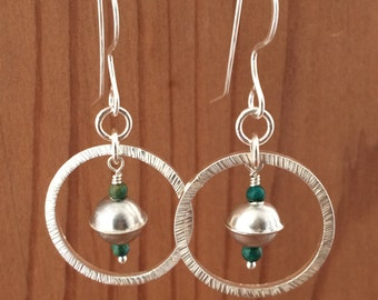 Silver Hoop Earrings with Turquoise and Silver Beads Hammered Texture All Handmade