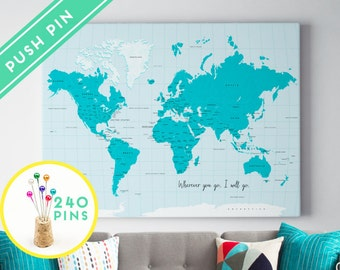 Personalized Push Pin World Map CANVAS  Blue Colors - Countries, Capitals, USA and CANADA States - Gift Idea Pin It Map, 240 Pins