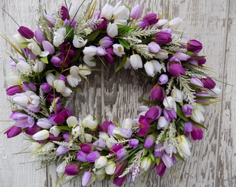 Spring Summer Wreath, Lilac Purple Tulips Wreath, Spring Tulips Wreath, Purple Wreath, Easter, Mothers Day Wreath, Spring Décor