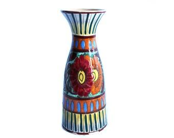 Vintage Italian Castelli hand-painted vases, Vintage Castelli Perugia Italian Pottery Vase, Italian Ceramic Art Pottery Vase